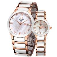 Подлинная Роскошный Швейцария Binger бренд керамические Сапфир кварцевые часы мужчины женщины моды Любители Смотреть Таблица harbor водонепрон