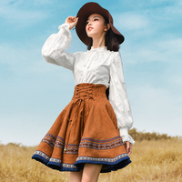Free Shipping Boshow 2017 Fashion Mini Short Skirt For Women Embroidery National Trend Suede Skirt Spring