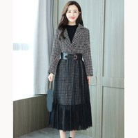 Winter Women Plaid Long Coat Outwear Long Sleeve Woolen Overcoat Dress Coat Autumn Female Plus Size Wool Blends Coats