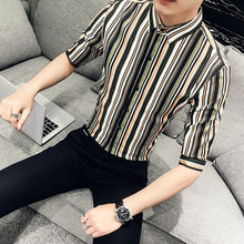 e0c3c7b1d70 Spring Summer New Men Striped Shirt Half Sleeve Slim Fit Hairstylist Shirts  Mens Night Club Tuxedo Shirt Social Plus Size 3XL-M