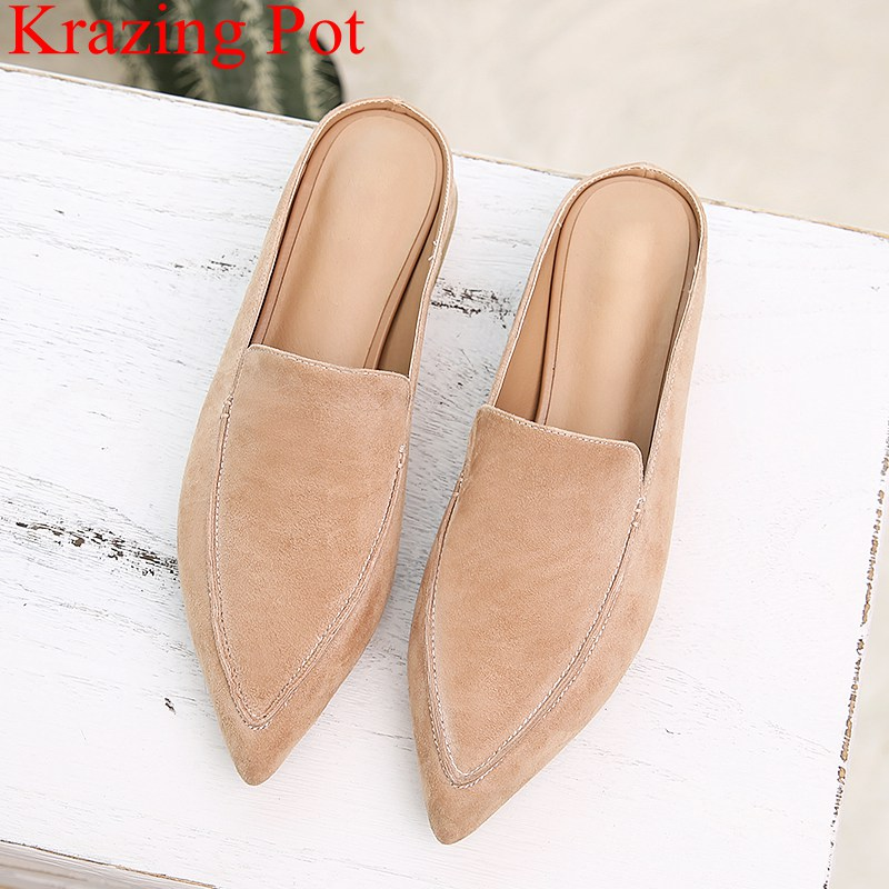 2018 new arrival pointed toe kid suede square heel women sandals slingback slipper sweet mules casual low heel summer shoe L86 lastest women summer sweet sandals slipper fashion solid color suede flower bow hasp flat heel square toe sandals schuhe damen