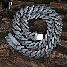 HIP HOP 14MM Iced Out Cubic AAA Zircon Mint Blue CZ Miami Cuban Chain Necklace For Men Jewelry недорого