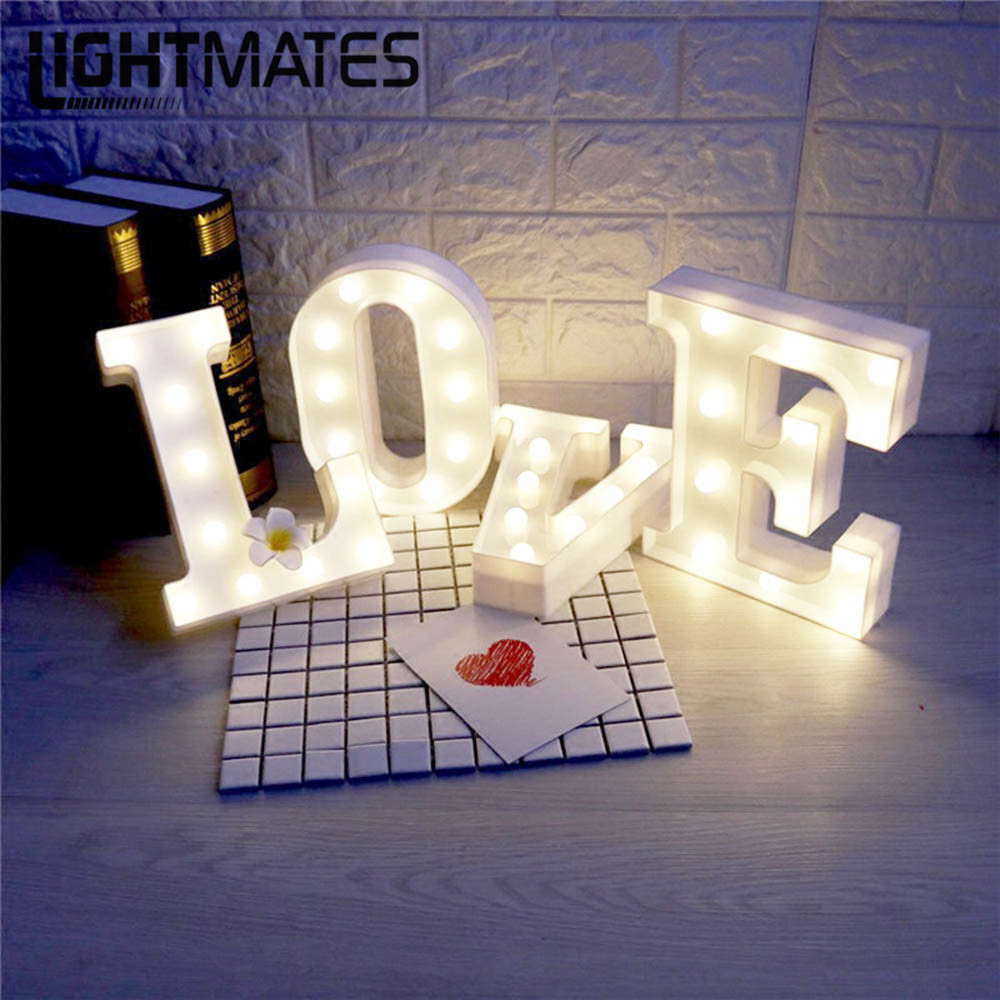 26 LED Letters Light Alphabet White Night Light Home Wall Hanging Decoration Lamp Birthday Wedding Party Children Bedroom Decor hanging paper fan decoration wedding birthday christmas decor party events decor home decor supplies flavor