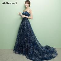 2019 Formal Slim Woman Tube Evening Party Floor Length Dress Sequined Blue Fashion Long Dress Elegant Female Party Maxi Dresses