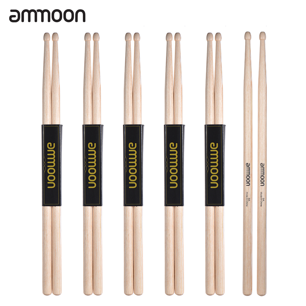 buy ammoon drumsticks 6 pairs of 5a 7a wooden drumsticks drum sticks maple. Black Bedroom Furniture Sets. Home Design Ideas