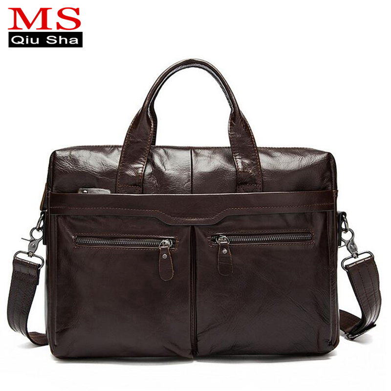 MS.QIUSHA Genuine leather Bag men messenger bags brand Cowhide laptop bag business handbags casual briefcase Male Crossbody Bag винтаж большая книга рисования и дизайна