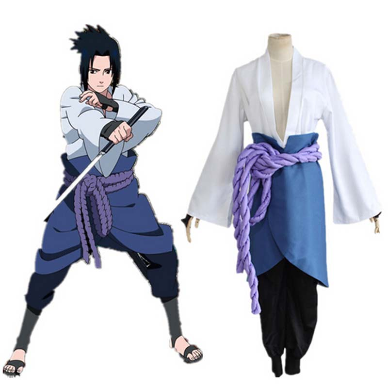 Uchiha Sasuke Cosplay Costume Anime Naruto Shippuden Third Generation Clothes Halloween Party (Blazer+pants+Waist Rope+handguard