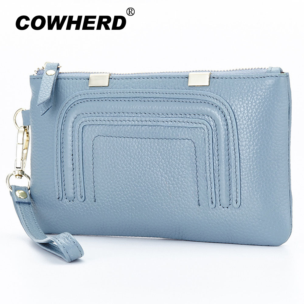 Wristlet Purses high quality fashion brand vintage cow leather purse long women wallet clutch phone bag real leather coin purse автокосметика