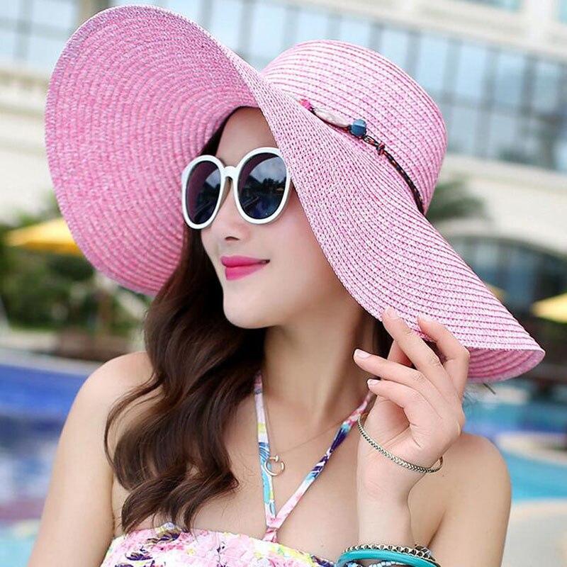 SUOGRY 2019 Hot Women Big Brim Sun Hats Colourful Colour Hand Hand - Aksesorë veshjesh - Foto 3