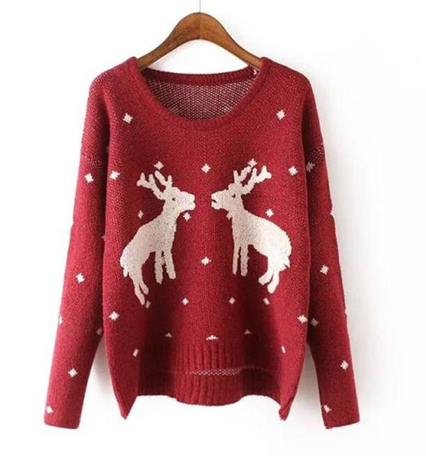 2af88a535d52d9 European station Women Christmas Reindeer Pullover two female deer  embroidery sweaters 5 colors