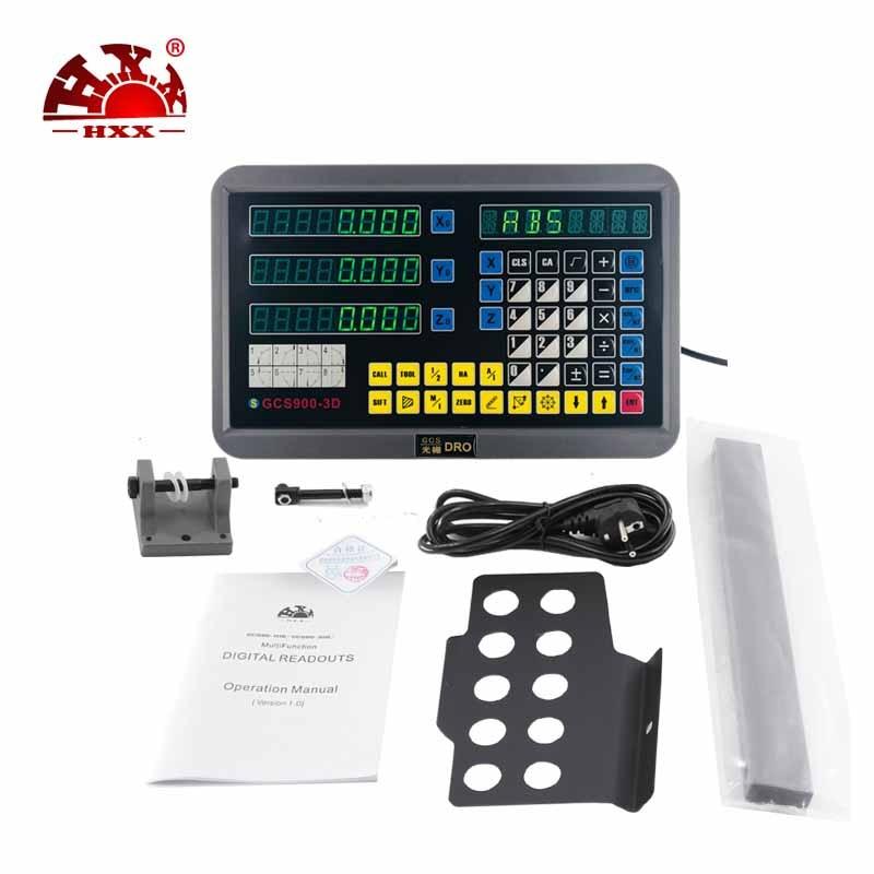 HXX 3 assi Dro GCS900-3D/Lettura Digitale e 3 pcs GCS898 50-1000mm Linear Scale/Encoder per Tutte Le MacchineHXX 3 assi Dro GCS900-3D/Lettura Digitale e 3 pcs GCS898 50-1000mm Linear Scale/Encoder per Tutte Le Macchine