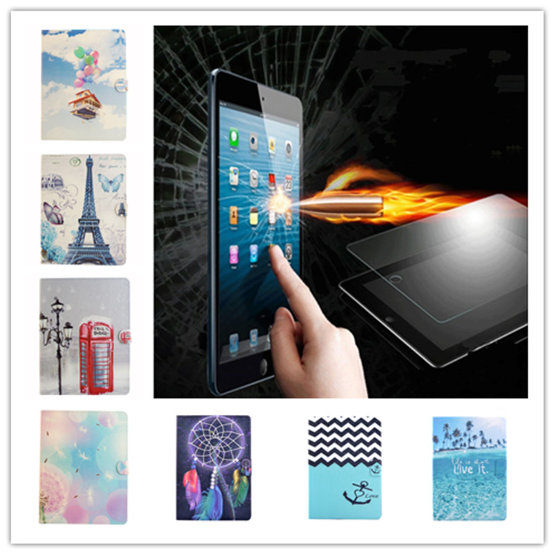 Fashion Colorful Painting PU Leather Case for iPad air 2 Stand Style Back Cover for ipad 6 + Tempered Glass Screen Protector
