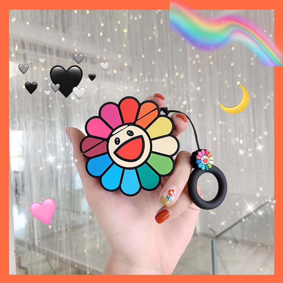 For AirPods Case Cute Flower Smile Sunflower Earphone Case For Airpods 2/i10/i11/i12 TWS Protect Cover With Finger Ring Strap