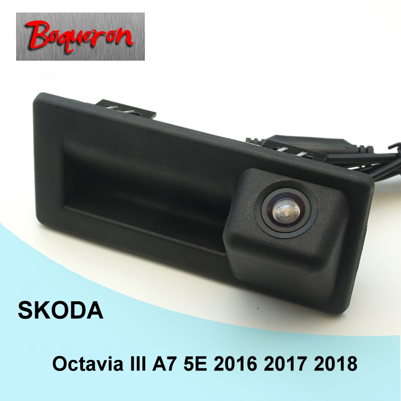 For SKODA Octavia III A7 5E 2016 2017 2018 Trunk Handle HD CCD Night Vision Backup Parking Reverse Camera Car Rear View Camera 210 sheets deli stationery thick layer deli 0383 heavy duty manual jumbo stapler large thickening effortless heavy duty stapler