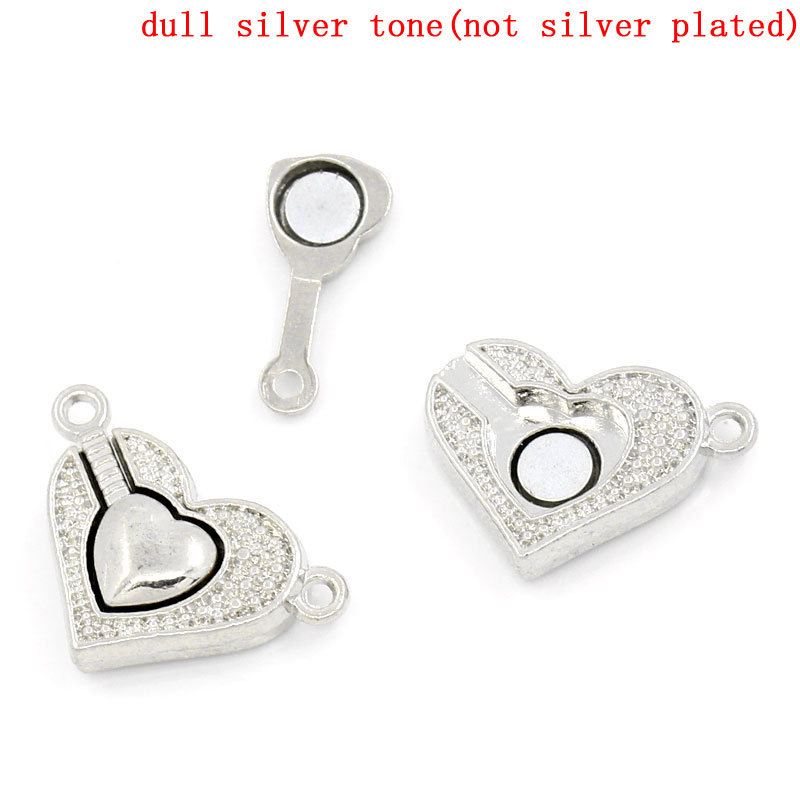 Copper+Magnetic Hematite Magnetic Clasps Heart Silver Tone 25mm(1
