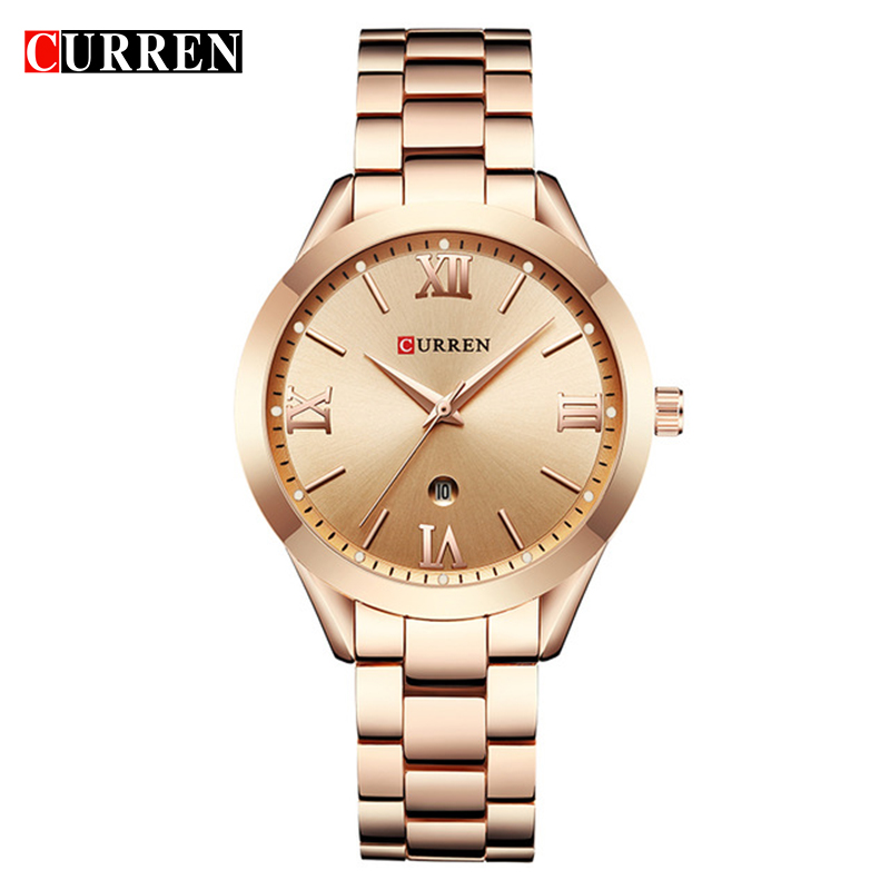 CURREN Woman Watches Top Brand Luxury Gold Ladies Watch Date Stainless Steel Band Classic Bracelet Female Clock Lover Gift 9007(China)