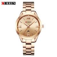 CURREN женские часы лучший бренд класса люкс золотые женские часы Дата Нержавеющая сталь ремешок классический браслет женские часы подарок лю...