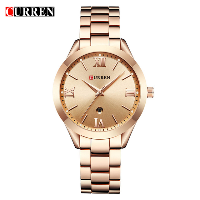 CURREN Woman Watches Top Brand Luxury Gold Ladies Watch Date Stainless Steel Ban