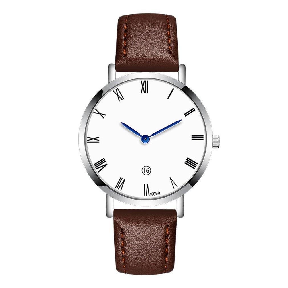 Men Watches Business Style Round Dial Quartz Soft Leather Strap Minimalist Ultrathin Wrist Watches Birthday Gift