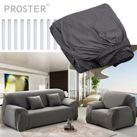 Proster Removable Stretch Couch Sofa Lounge Covers Recliner 3 Seater Dining Chair Cover Grey Solid Sofa Cover Funiture Covers