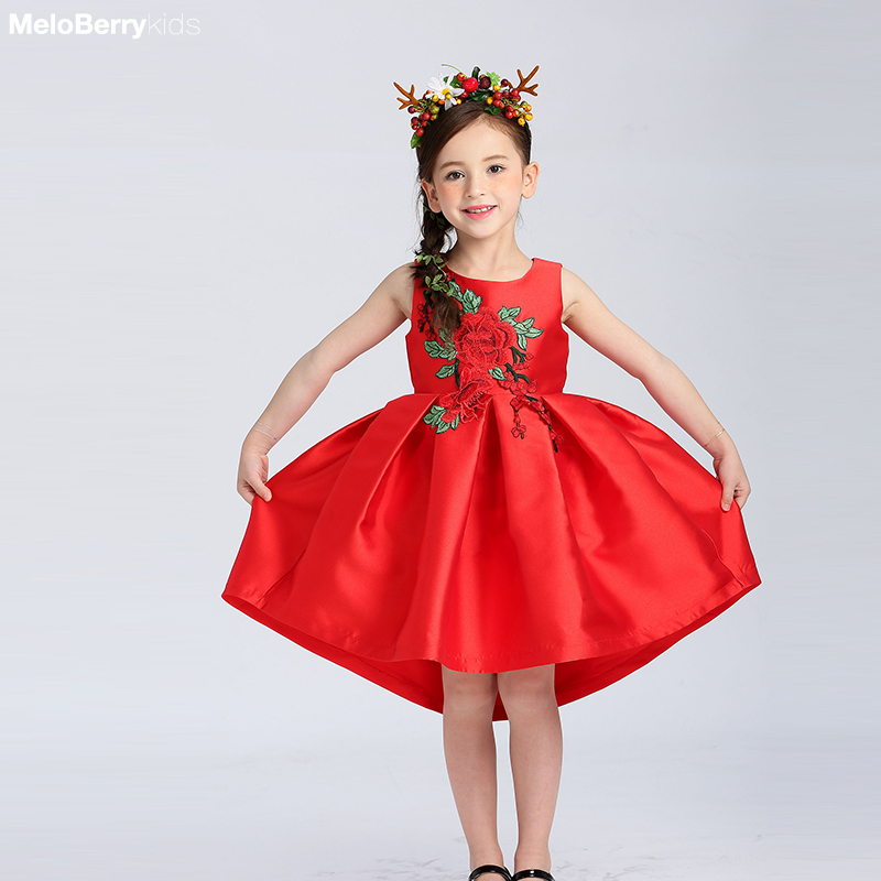 Toddler Little Girls Kids Red Rose Ball Gown infant ... Red Dresses For Girls Age 9