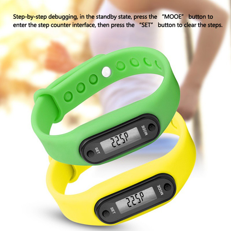 Digital LCD Silicone Wrist Band Pedometers Run Step Adult Sport Fitness Multi-function Walking Calorie Counte Distance Counter