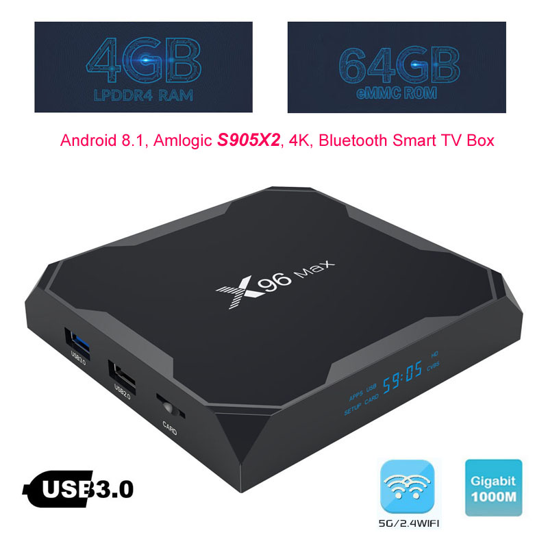 4 gb DDR4 Android Boîte de TÉLÉVISION Intelligente Amlogic S905X2 4g/64g 4g/32g Médias joueur 1000 m 2.4g/5.8g Double Bande Wifi Bluetooth 4.x+ HS X96 Max