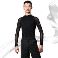 Latin Dance Top Black Long Sleeve Latin Men Shirt Cha Rumba Salsa Samba Performing Clothes Male Practice Dancewear Mens DNV10802