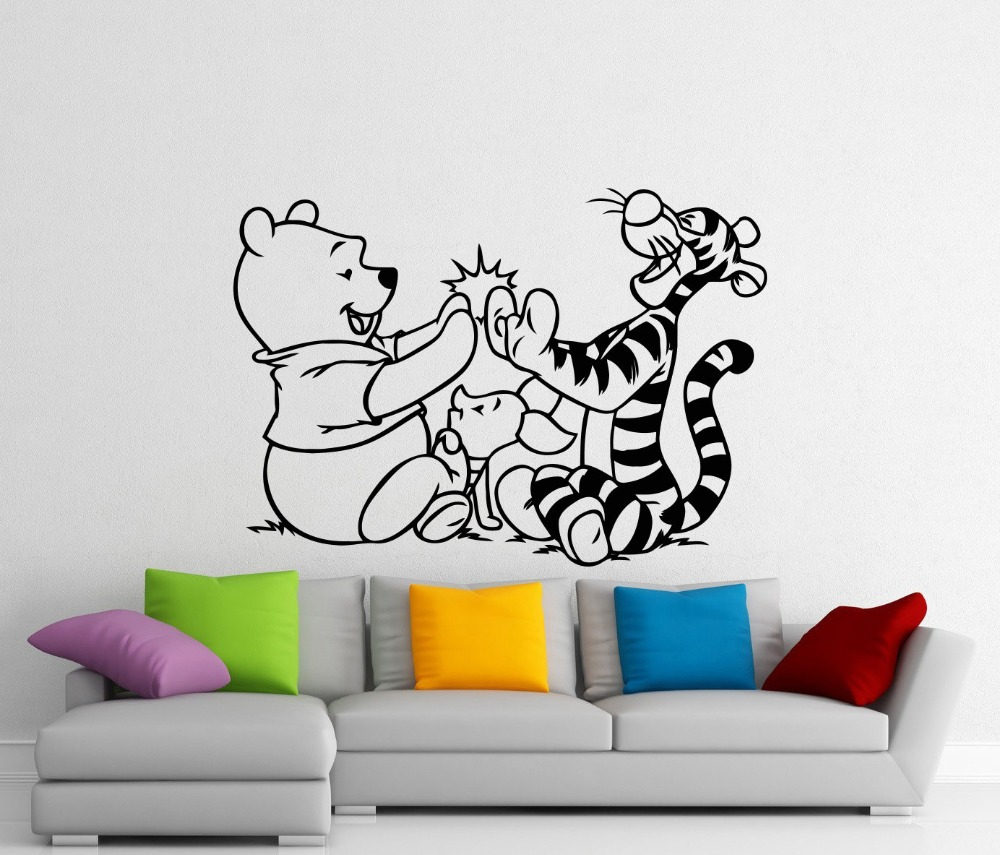 popular kid wall murals buy cheap kid wall murals lots from china wine the pooh wall sticker cartoon cute lovely vinyl wall decal pooh bear tiger piglet wall