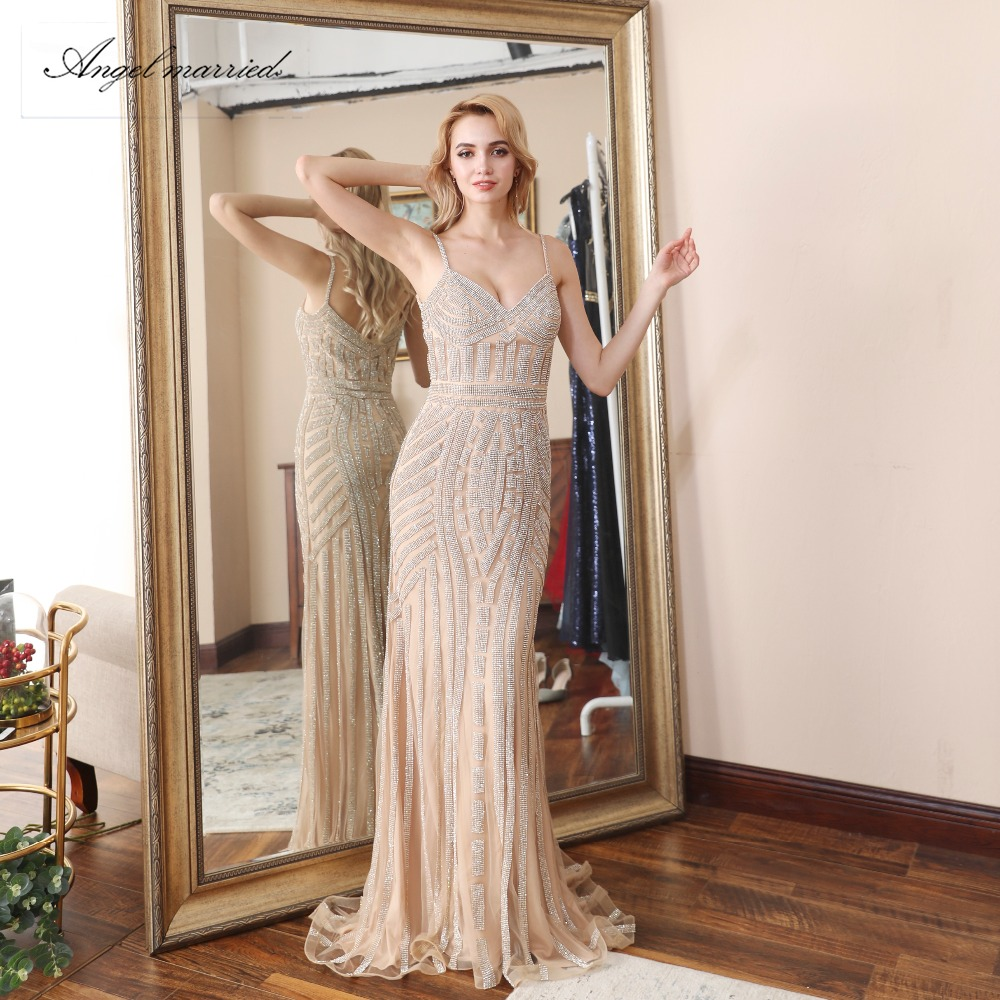 Angel married luxury Evening Dresses champagne prom gowns mermaid ...