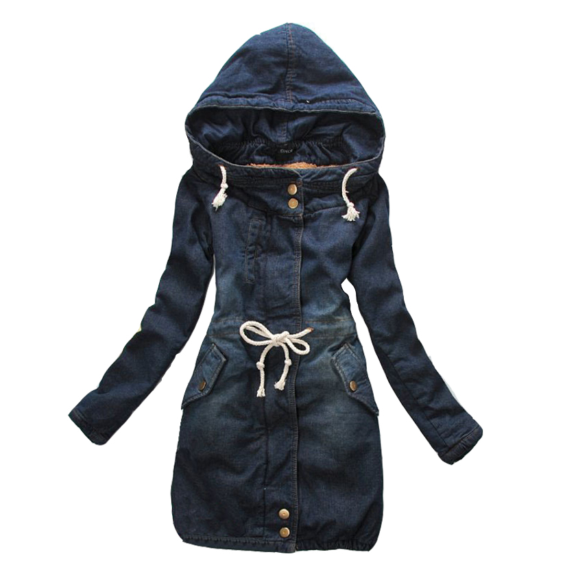 2017 Women Winter Hooded Vintage Long jean Coat Warm Thickening Velvet fur Cotton Padded   Parka   Outwear Denim Jacket C76015M