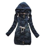 2017 Women Winter Hooded Vintage Long jean Coat Warm Thickening Velvet fur Cotton Padded Parka Outwear Denim Jacket C76015M