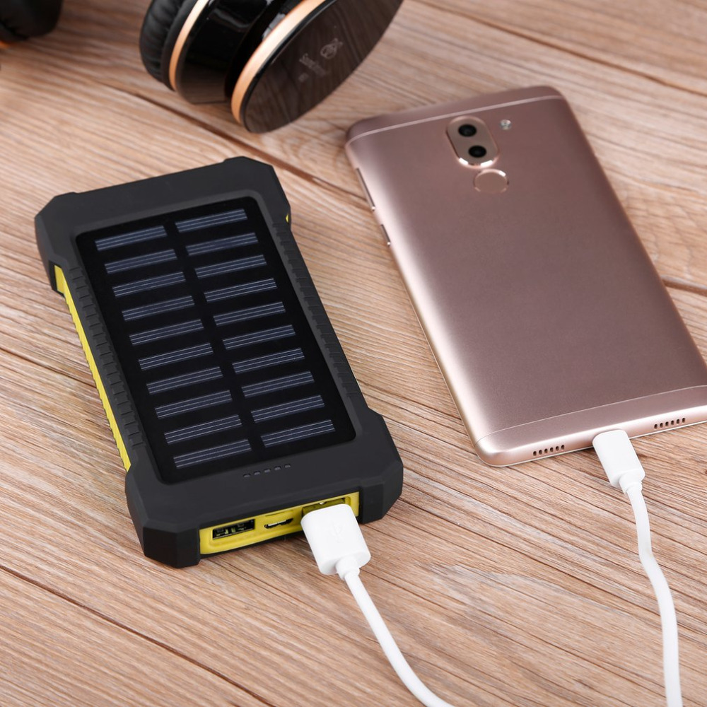 Dual USB Solar Power Charger Waterproof 300000mAh Portable Solar Powered Dual USB Battery Power Bank for Outdoor Emergency fashionable round neck long sleeve polka dot pattern dress for women