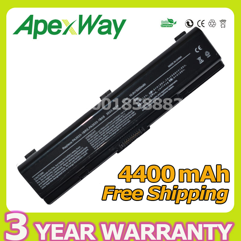 Apexway Laptop Battery for Toshiba PA3533U-1BAS PA3534U-1BRS for Satellite A200 A205 L300 A210 A215 L305 L305D L500 L500D L505 new laptop cable for toshiba satellite a200 a205 pn dc02000f900 repair notebook lcd lvds cable