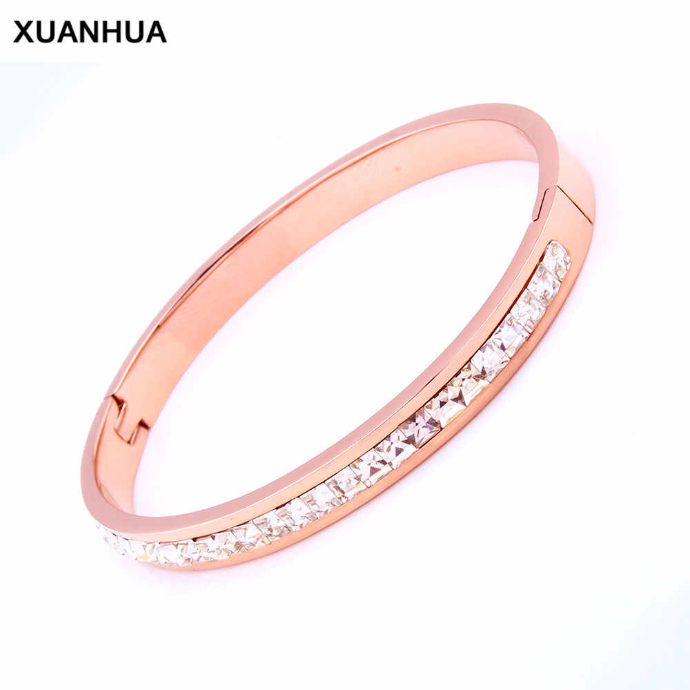 XUANHUA Stainless Steel Cuff Bracelets & Bangles Rose Gold Bracelet For Women Luxury Bracelet Steel New Fashion Jewellery