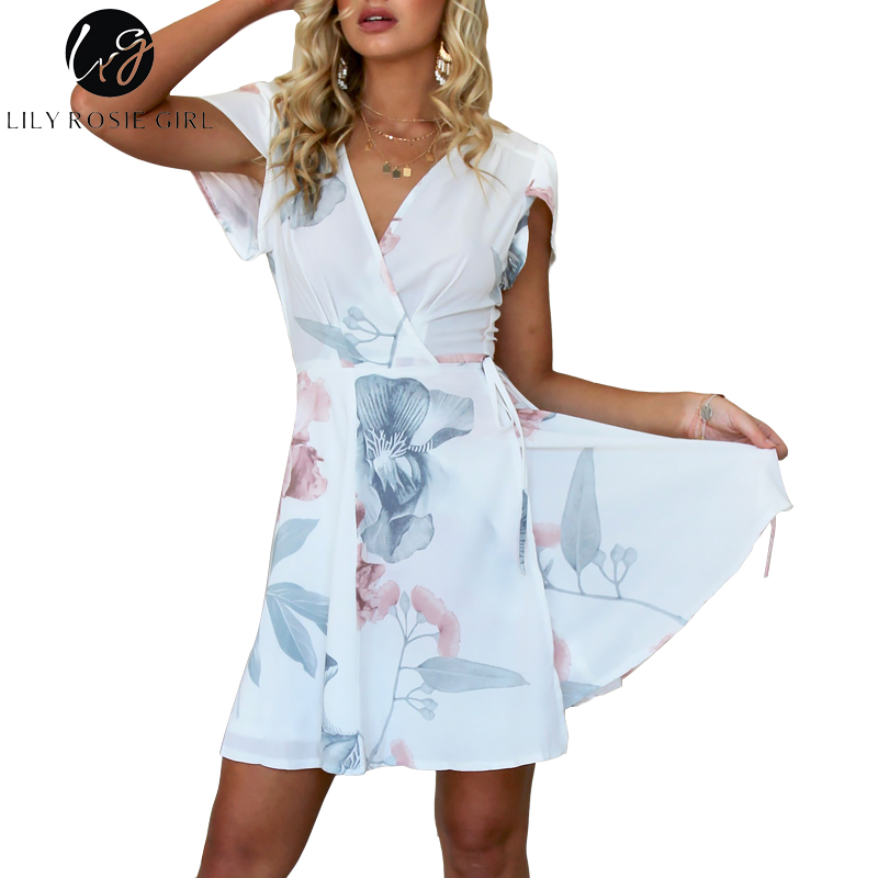 6b53d3874800 Lily Rosie Girl White Mini Wrap Women Dresses 2018 Summer Floral Print Sexy  V Neck Short
