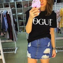 2018 New Summer T-Shirt Women VOGUE High Cotton Fashion Red Letter Print Casual Knitwear Short Sleeve
