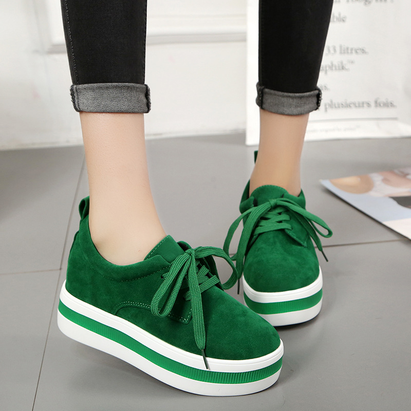 Muffin Women's Shoes Thick Bottom New Casual Female Vulcanize Shoe Black Green Lace Up Fashion Girl Sneakers With Platform