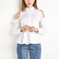 Women Sexy White Slim Tops Cold Shoulder Soft Shirts Casual Sexy Single Breasted Women Ruffles Blouse