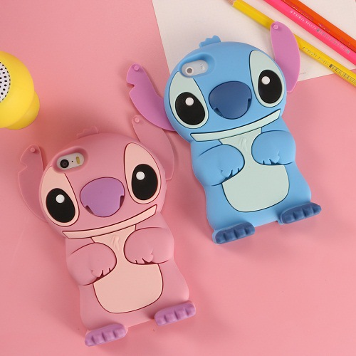 <font><b>3D</b></font> <font><b>Cartoon</b></font> Lilo Stitch Soft Silicone Case For <font><b>iPhone</b></font> SE 2020 6 S 7 8 Plus X XS 4 5 Air Stogdill Silicon Movable Ear Coque <font><b>Fundas</b></font> image