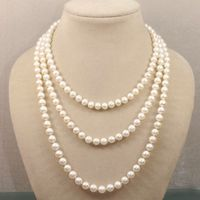 Grade AA 7 8mm white Pink black Natural Akoya Fashion girl jewelry Pearl Necklace 50