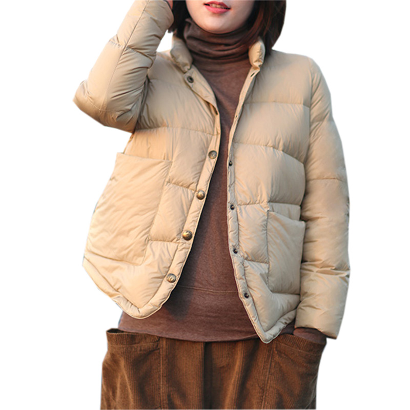 Ultra Light Down Coats Women Stand Collar Short White Duck Down Jacket Outwear Spring Autumn Female Casual Down Coats YP2057