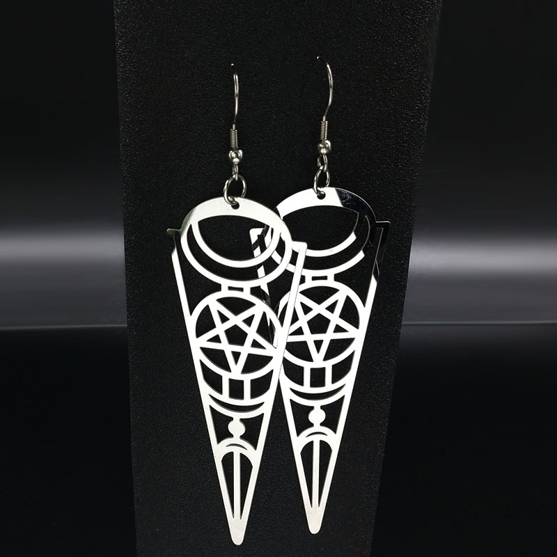 19 Pentagram Stainless Steel Earrings Women Jewelry Geometry Silver Color Earrings Jewelry boucle d'oreille longue E612363 5