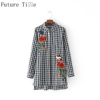 Future Time Women Embroidery Flower Plaid Shirts Long Sleeve Turn Down Collar Long Blouses Ladies Casual