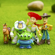 5 Pcs/set Action Figures Dolls Cute Toy Story Figure Woody Buzz Jessie Hand Office Earners Decoration Doll Free Shipping