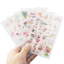 6pcs/pack Flamingo creative album Daily DIY sticker For Albums Diary Decoration Cartoon Washi paper Stickers