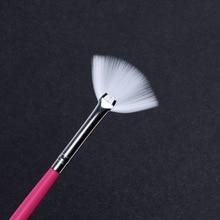 Pandahall 3pcs Gradient Fan Shape Nail Brush Pink Handle Dust Glitter Powder Remover Pen Nail Art Drawing Pen Liner Brush недорого