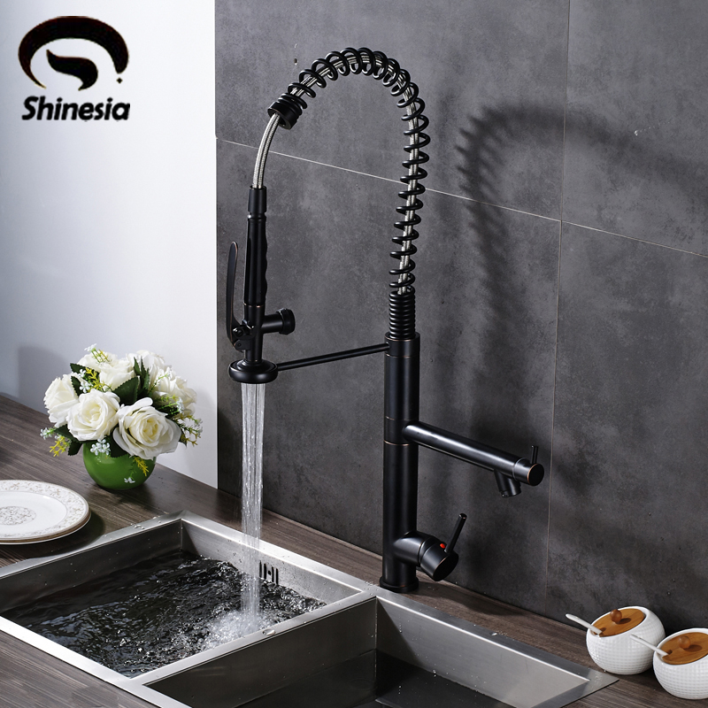 Oil Rubbed Bronze High Spring Kitchen Sink Faucet Single Handle Swivel Spout Mixer Tap Deck Mount