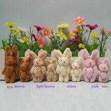 6 см 8 см Плюшевые длинные шерсть мини Голые Совместное Кролик Мини Подвески-Кролики/брелок кукла-медвежонок Аппликация/милые/детские полосы, 10 шт./лот