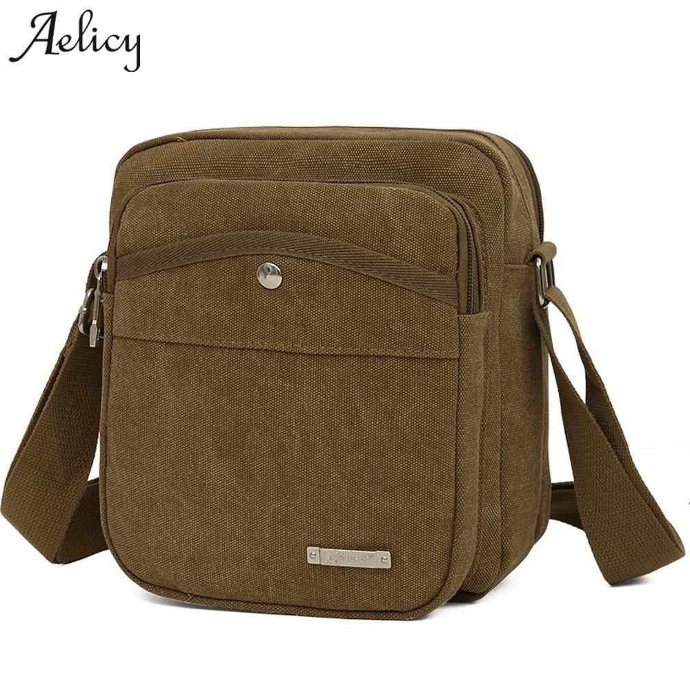 Men Canvas Messenger Shoulder Bag New Business Casual Briefcase Shoulder Bags Zipper Men Bag Messenger For Ipad 2018 New